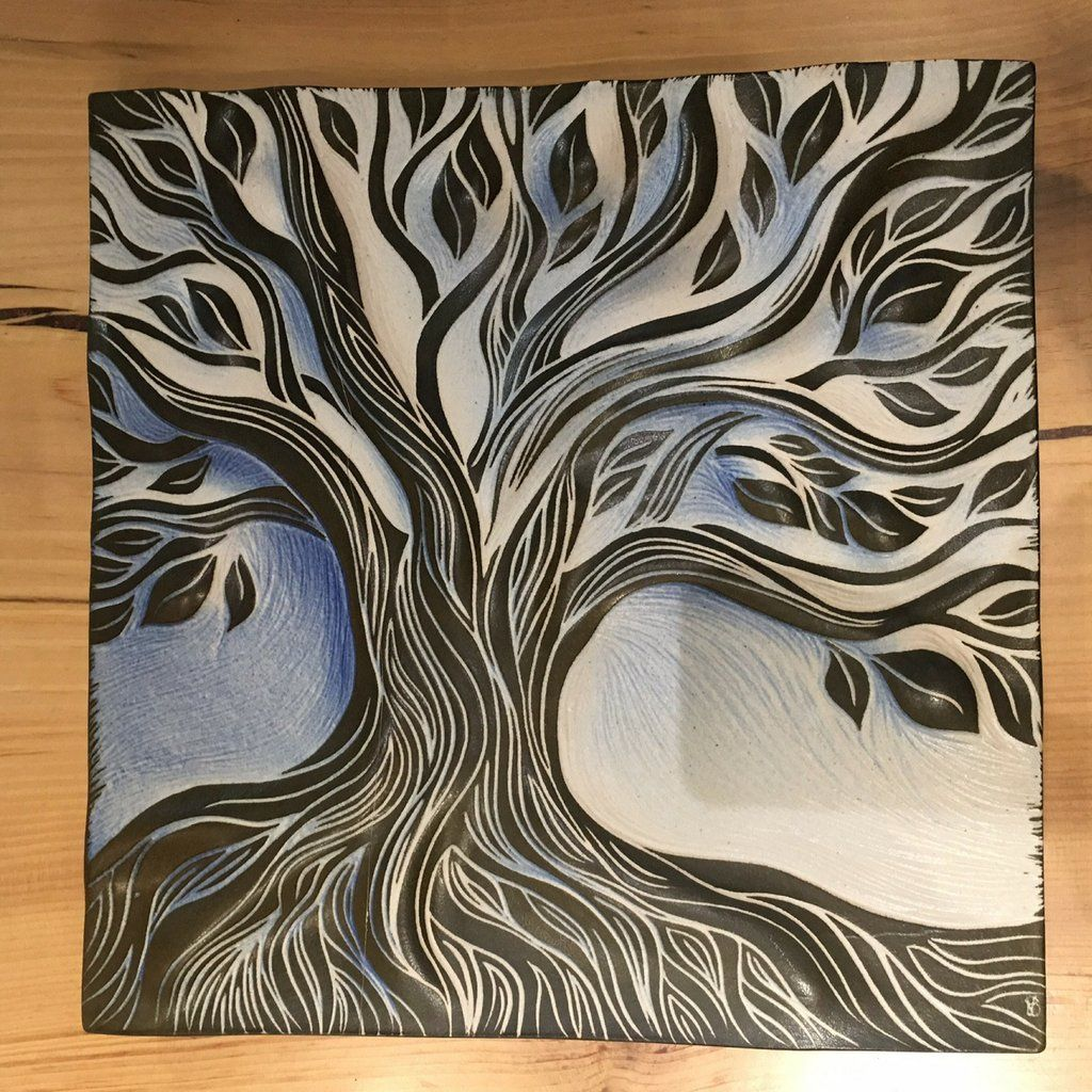 Sgrafitto clipart tree clipart royalty free download Perfect little tree of life tile sgraffito carved in Natalie ... clipart royalty free download