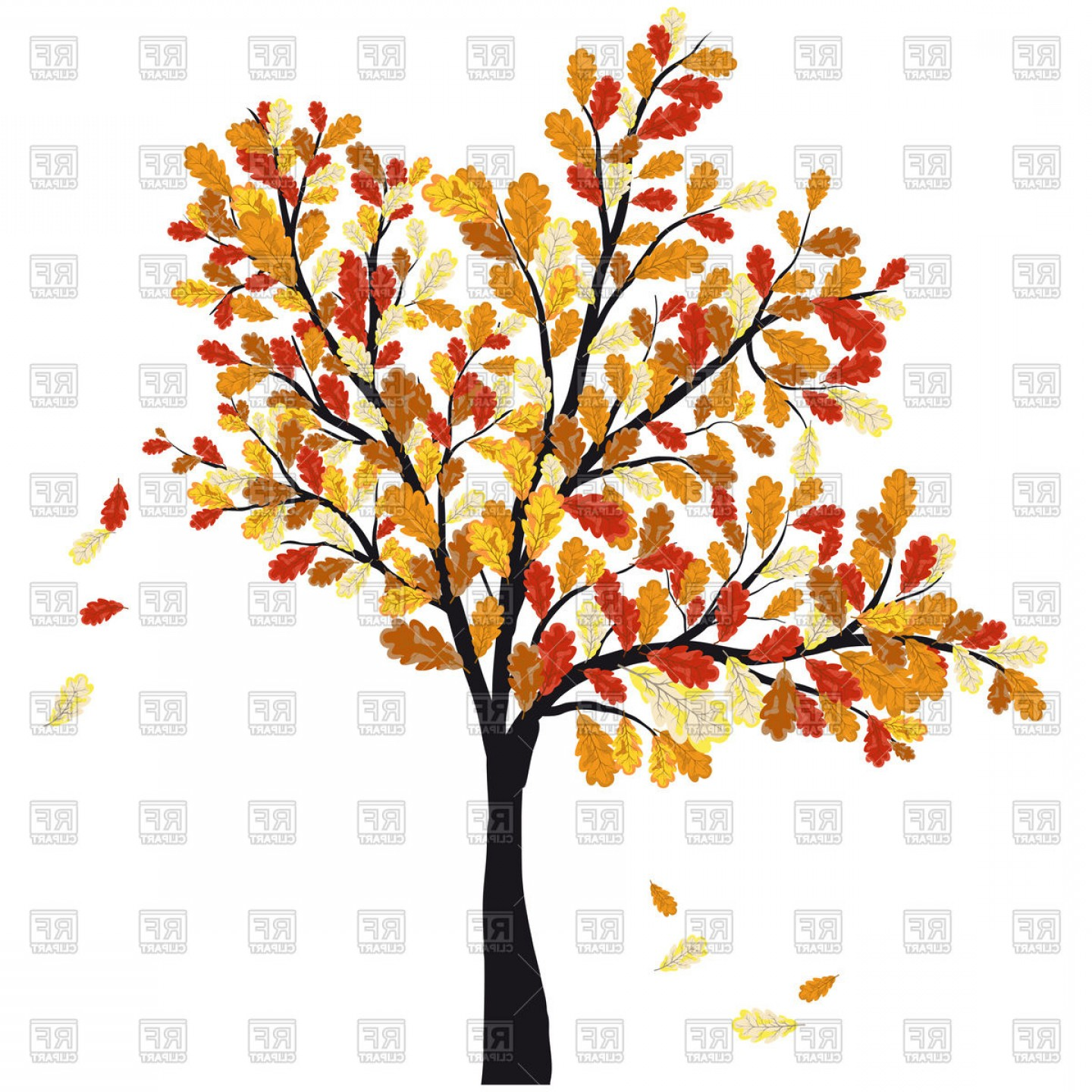 Shabby fall clipart clip art royalty free download Autumn Oak Tree With Falling Leaves Vector Clipart | CQRecords clip art royalty free download