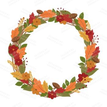 Shabby fall clipart svg free Premium Large Autumn Harvest Wreath Clip Art - 12 Inch Autumn Wreath Clipart svg free