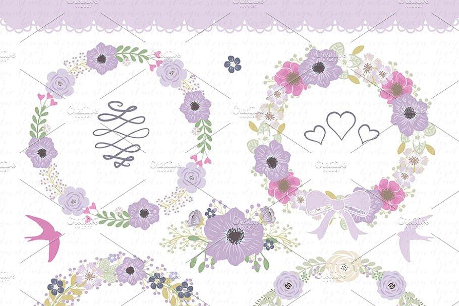 Shabby floweral wreath clipart jpg download Vector flower wreath clipart jpg download