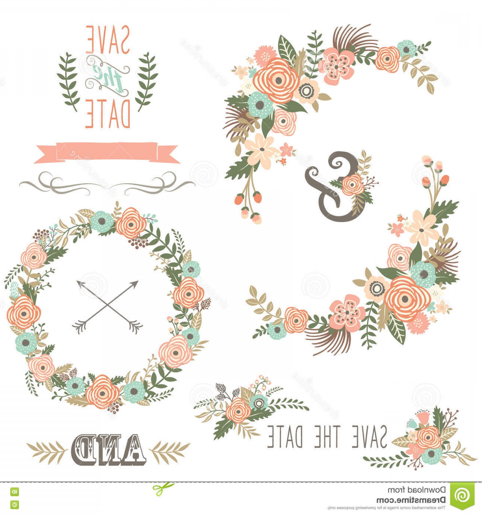 Shabby floweral wreath clipart clipart free library Stock Illustration Vintage Rustic Floral Wreath Vector ... clipart free library