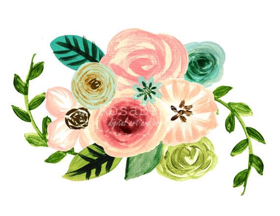 Shabby floweral wreath clipart vector freeuse Floral clipart, wreath clipart, watercolor floral clipart ... vector freeuse