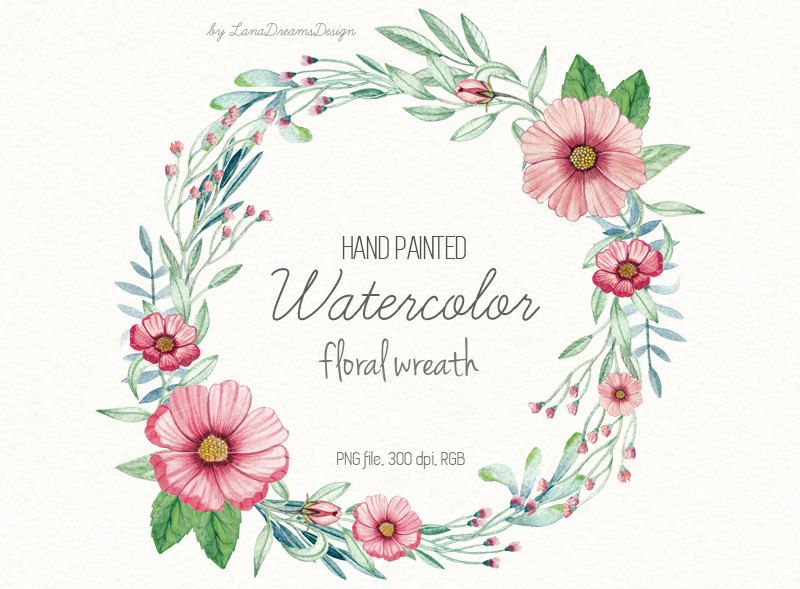 Shabby floweral wreath clipart clipart royalty free download Watercolor hand painted floral wreath pink and green clipart ... clipart royalty free download