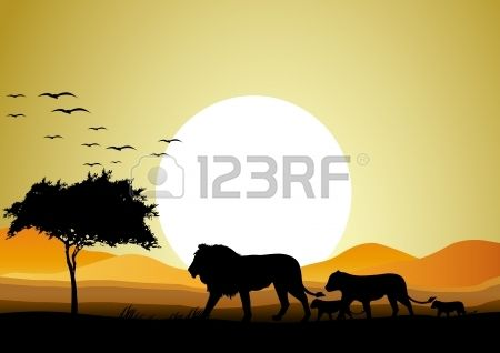 Shadow clipart back drop clip free library Stock Vector   Tattoos   Lion family, Sunset background ... clip free library