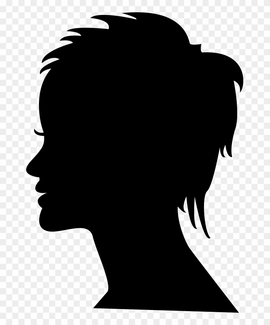 Woman head clipart png png royalty free download Short Female Hair On Side View Woman Head Silhouette - Black ... png royalty free download