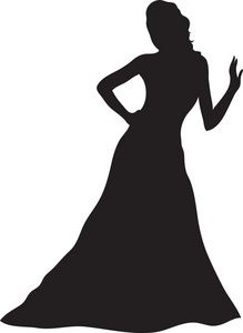 Shadow of a person in a dress clipart