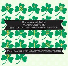 Shamrock alphabet letter clipart graphic library Gold Foil Giant Four Leaf Clover Clipart from PrintableTreats.com ... graphic library