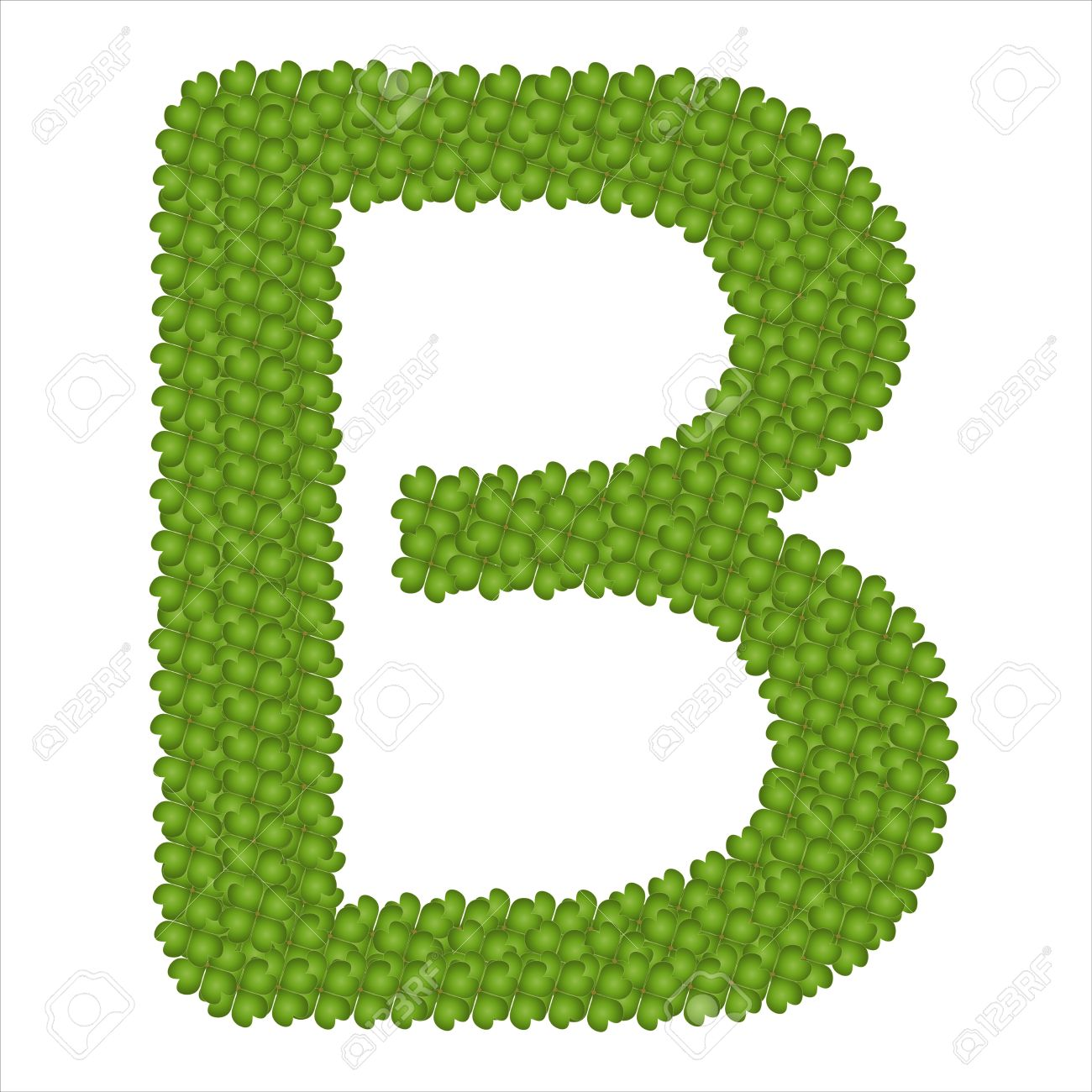 Shamrock alphabet letter clipart jpg royalty free Letter B, Alphabet Letters Made Of Four Leaf Clover Isolated ... jpg royalty free