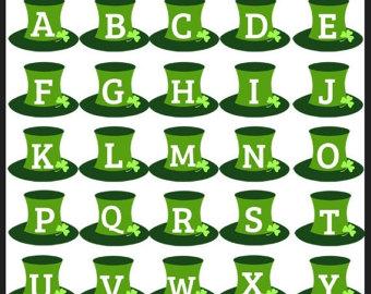 Shamrock alphabet letter clipart vector freeuse download Leprechaun clipart | Etsy vector freeuse download
