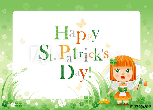 Shamrock frame clipart p image library library Happy Saint Patrick day. Irish dress baby girl border flyer ... image library library
