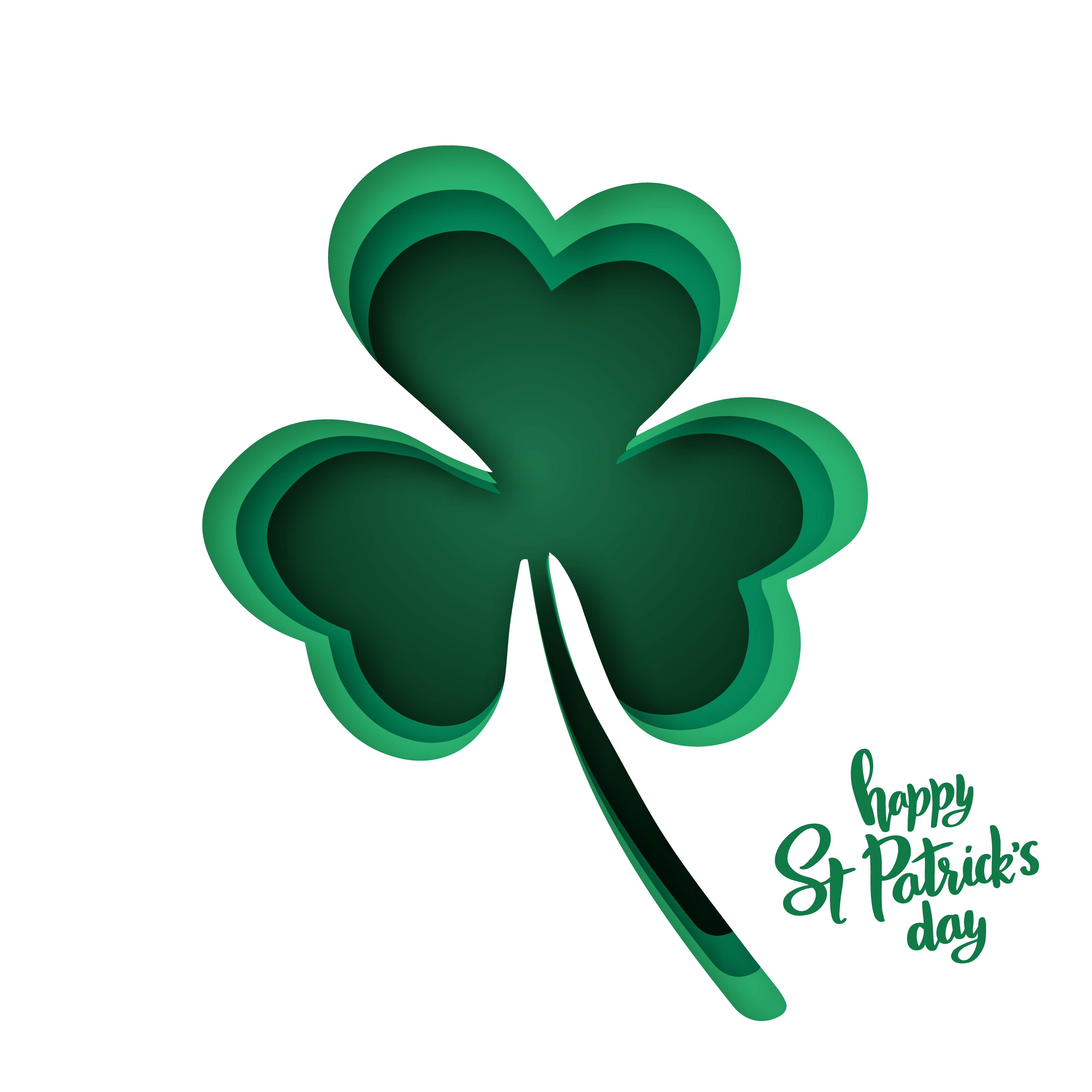 Shamrock silhouette clipart png library download Paper cut shapes with silhouette of shamrock and lettering ... png library download