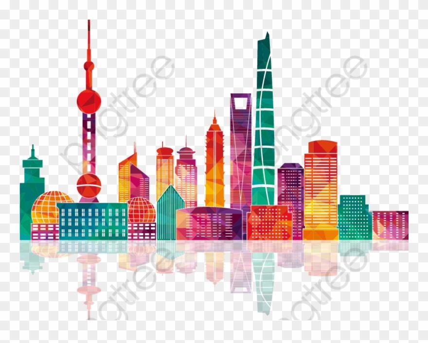 Shanghai clipart vector black and white stock Colorful Shanghai Building Silhouettes - Shanghai Skyline ... vector black and white stock
