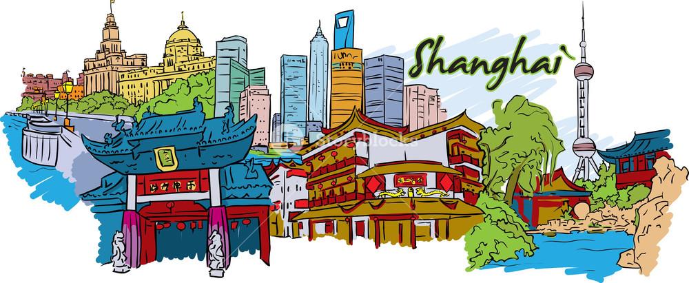 Shanghai clipart jpg royalty free library Shanghai Vector Doodle Royalty-Free Stock Image ... jpg royalty free library