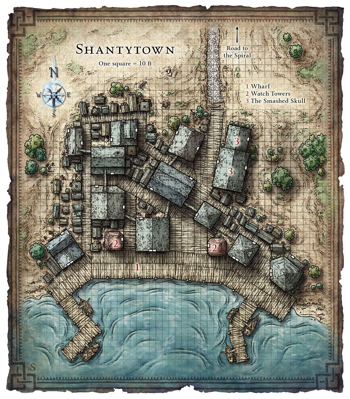 Shantytown clipart banner free stock Shantytown Map   Small Towns   Fantasy map, Fantasy city map ... banner free stock