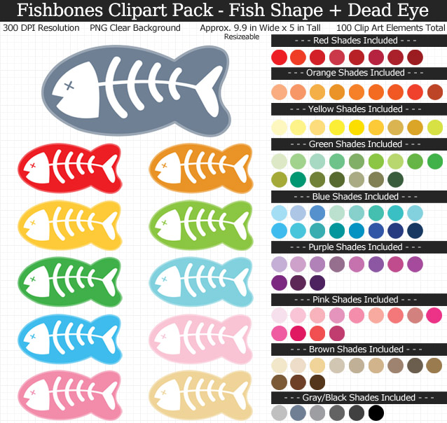 Shape clipart pack image library stock Fishbones Clipart Pack image library stock