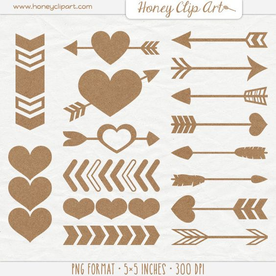Shapes and arrow clipart png graphics jpg freeuse download Digital Kraft Paper Heart and Arrow Shapes - Cardboard Heart Clip ... jpg freeuse download
