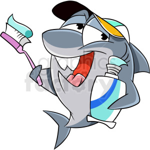 Shark cartoon clipart clip art freeuse library shark holding toothbrush cartoon clipart. Royalty-free clipart # 409291 clip art freeuse library
