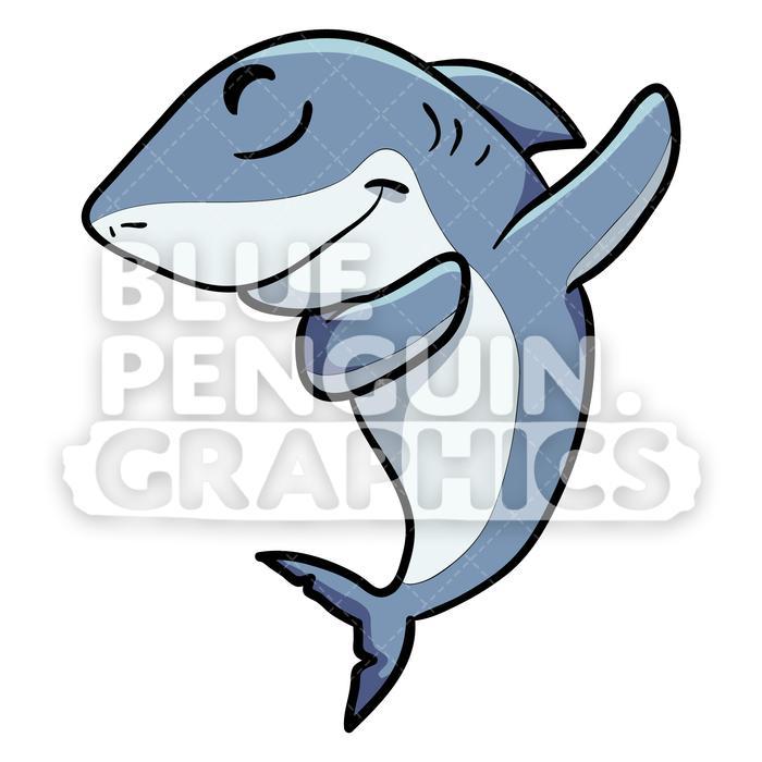 Shark cartoon clipart black and white stock Shark Dabbing Vector Cartoon Clipart black and white stock