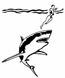 Shark chasing swimmer clipart svg transparent library GREAT WHITE SHARK CHASING SWIMMER Vinyl Decal Sticker Window ... svg transparent library