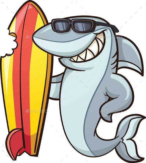 Shark clipart sunglasses clipart royalty free stock Cartoon shark with a bitten surfboard. Vector clip art ... clipart royalty free stock