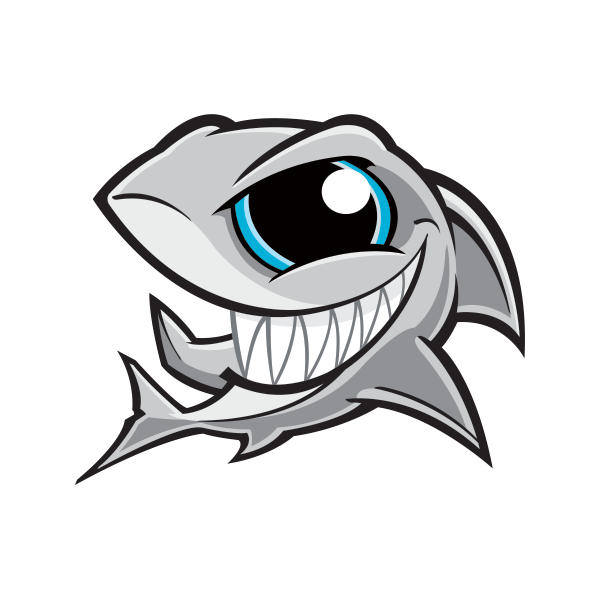 Shark playing baseball clipart clip royalty free Printed vinyl Angry Shark Smile | Stickers Factory clip royalty free