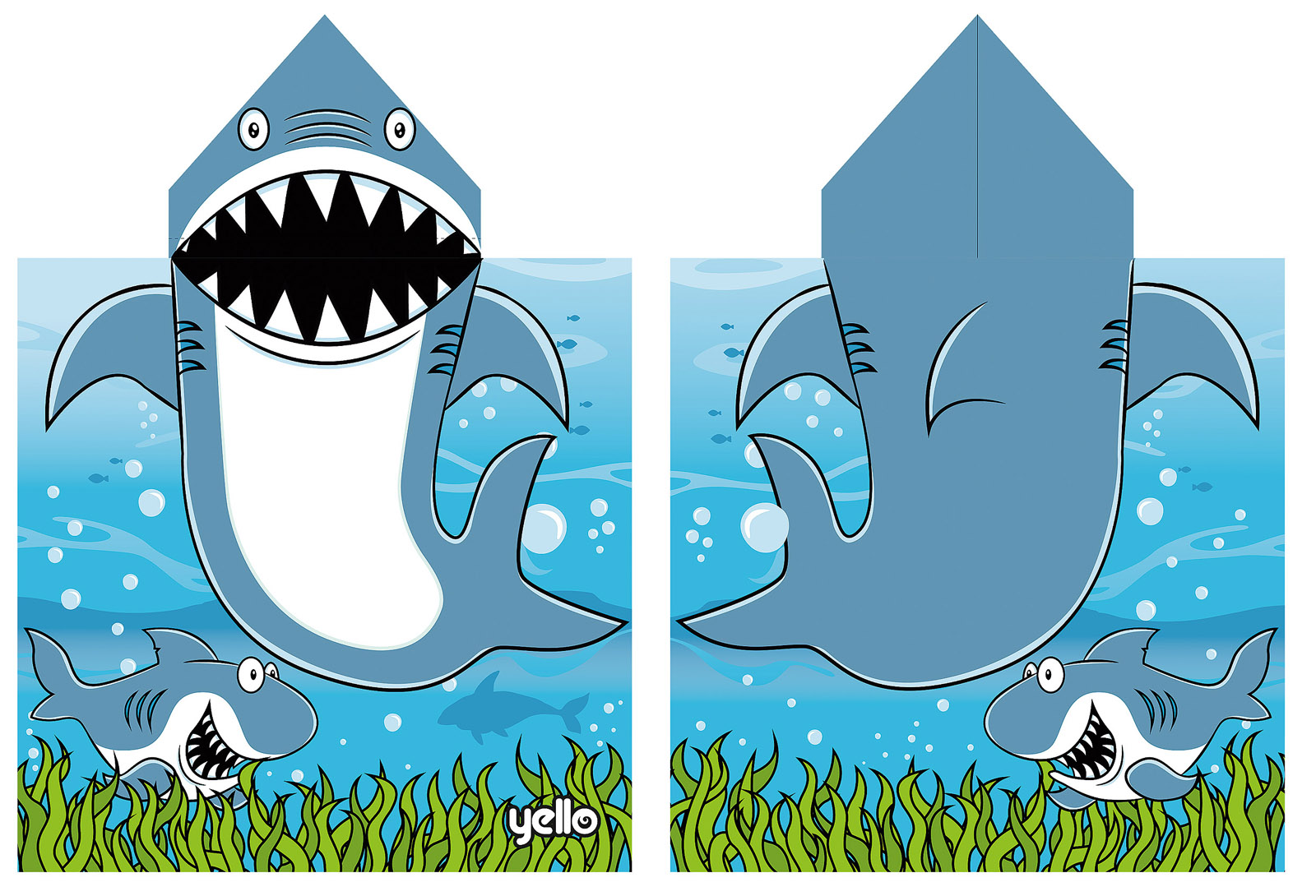 Shark with towel and hat clipart image black and white library Details about Childrens Hooded Beach Towel Bath Swimming Towel Boys Girls  Character Poncho image black and white library