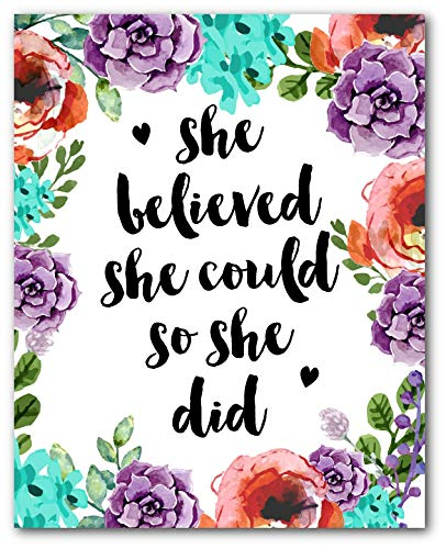 She believed she could so she did clipart png free stock She Believed She Could So She Did Art, Floral Print, Inspirational Quote, 8  x 10 Inches, Unframed png free stock