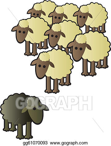 Sheep flock clipart clip art black and white Vector Illustration - Black sheep and flock. EPS Clipart ... clip art black and white