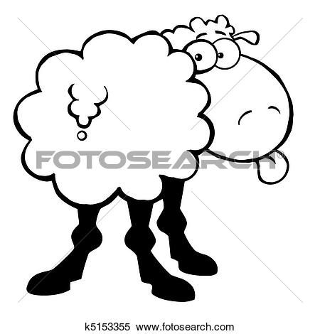 Sheep showing clipart svg transparent library Clipart of Outlined Funky Sheep k5153355 - Search Clip Art ... svg transparent library