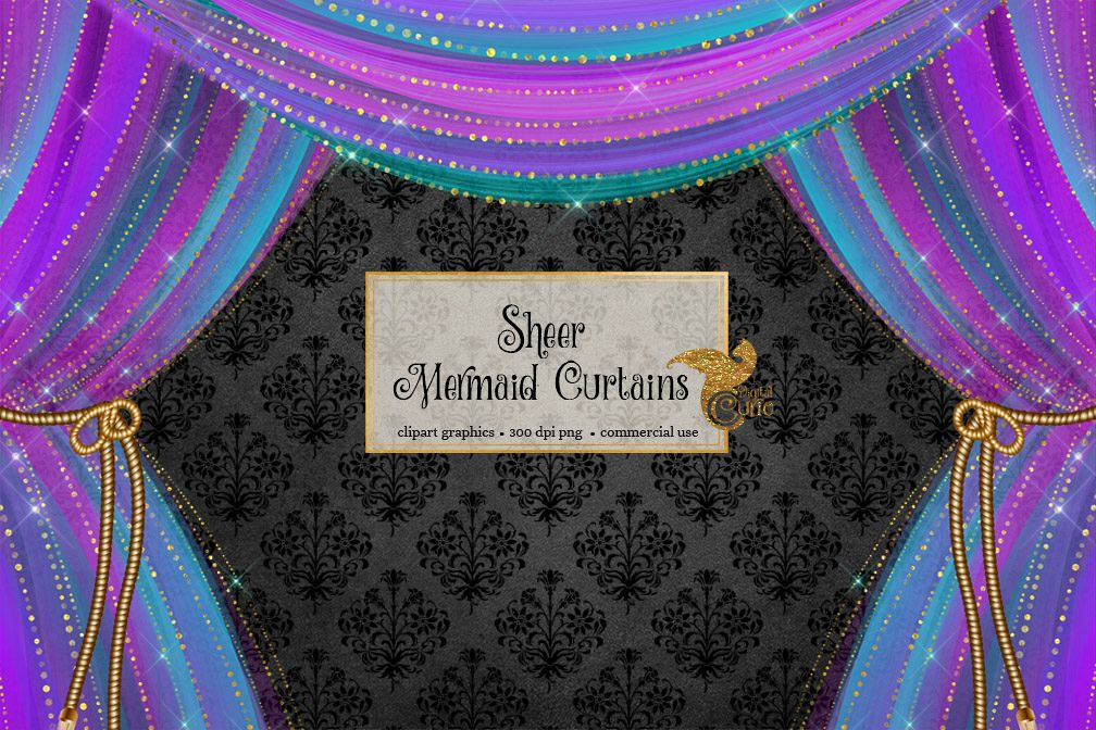 Sheer curtains clipart svg royalty free Sheer Mermaid Curtains Clipart svg royalty free