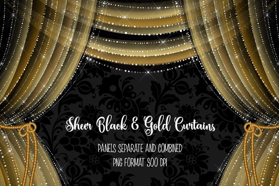 Sheer curtains clipart jpg black and white Sheer Black and Gold Curtains jpg black and white