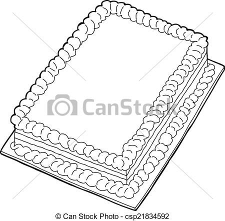 Sheet cake clipart png transparent library EPS Vectors of Outlined Cake - Fancy sheet cake with copy space in ... png transparent library