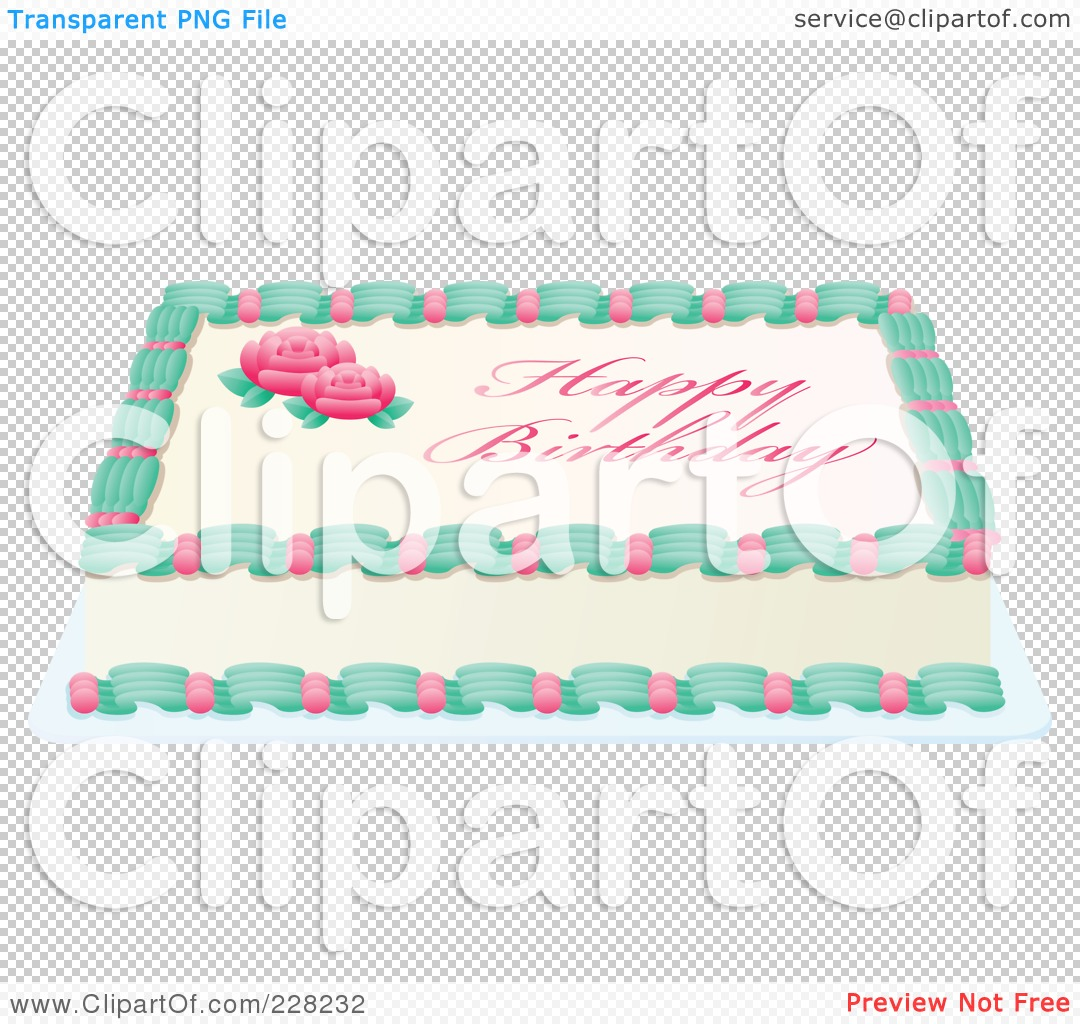 Sheet cake clipart png royalty free Royalty-Free (RF) Clipart Illustration of a Rose Sheet Cake With ... png royalty free
