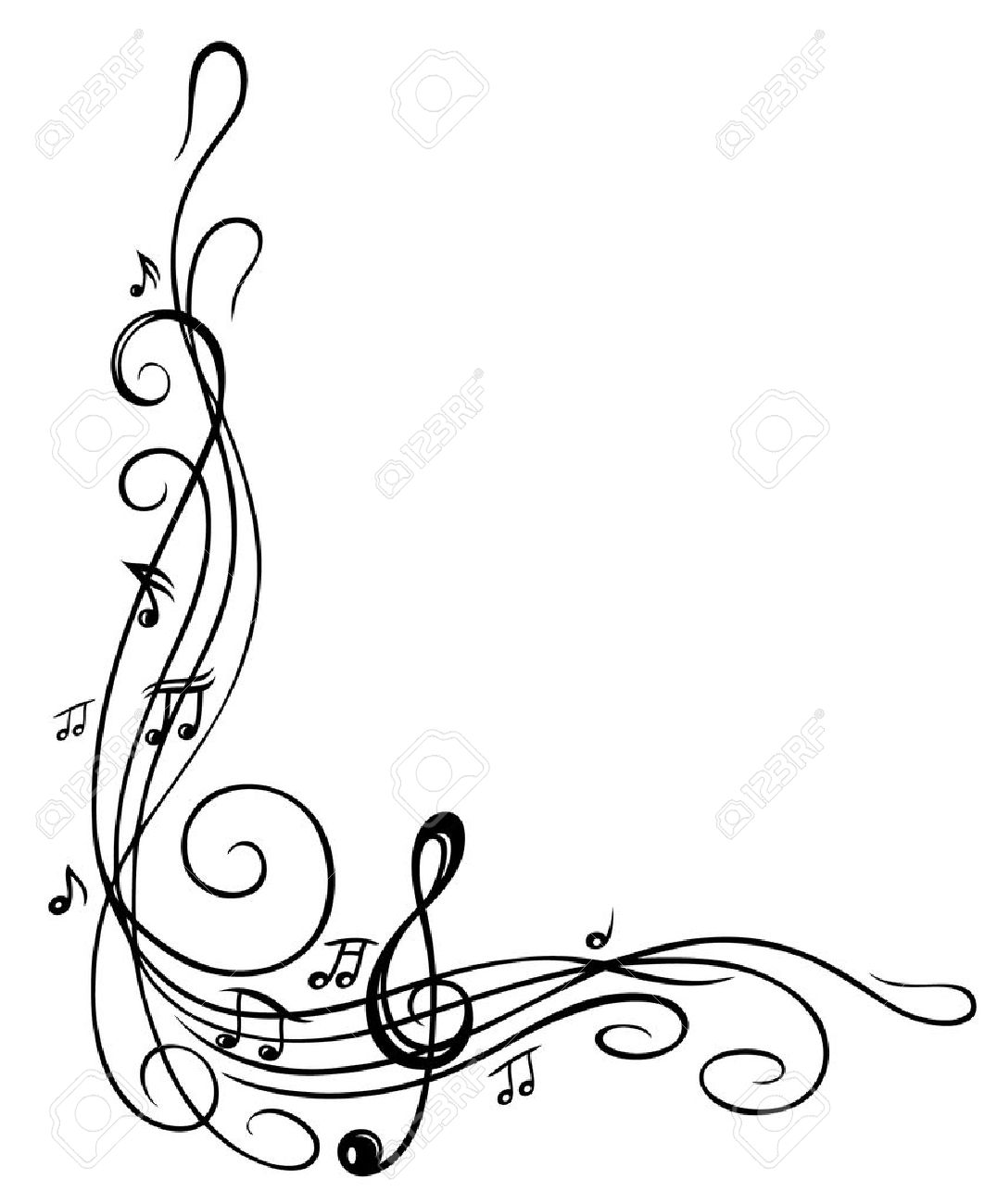 Sheet music border clipart vector black and white download Best Music Note Border #2897 - Clipartion.com vector black and white download