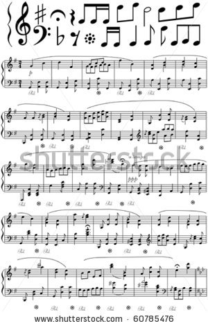 Sheet of music clipart clip black and white stock of sheet music in a vector clip art illustration clip black and white stock