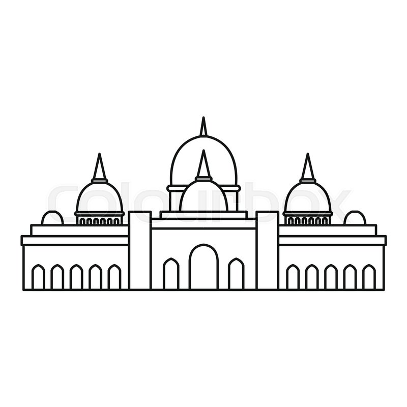 Sheikh zayed mosque clipart black and white library Sheikh Zayed mosque, Abu Dhabi icon. ... | Stock vector ... black and white library