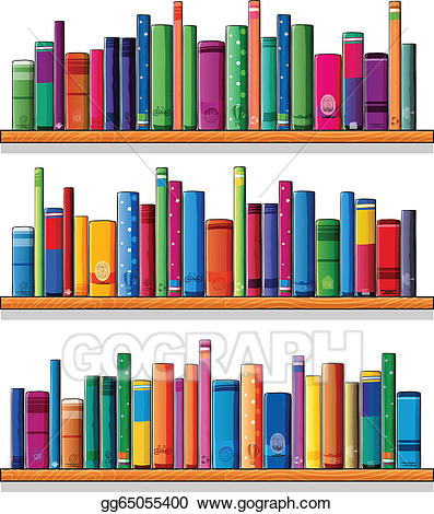 Shelving books clipart picture transparent download Vector Stock - Wooden shelves with books. Clipart ... picture transparent download
