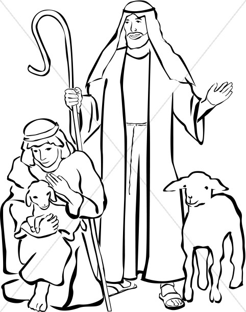 Kids nativity black and white clipart vector black and white stock Shepherds Clipart | Nativity Clipart vector black and white stock