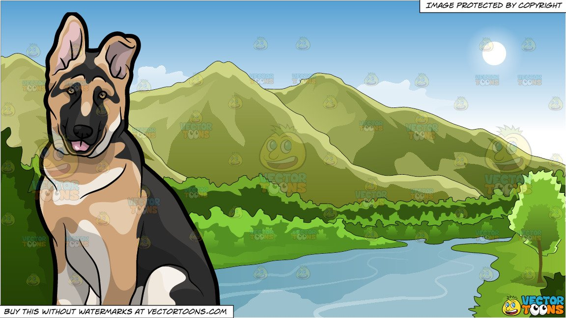 Shepherd sitting on a hill side clipart image royalty free library A Friendly German Shepherd Puppy and Mountains And River Background image royalty free library
