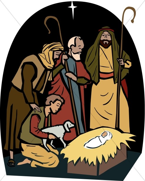 Shepherds nativity clipart clip royalty free download The Shepherds Visit the Manger | Nativity Clipart clip royalty free download