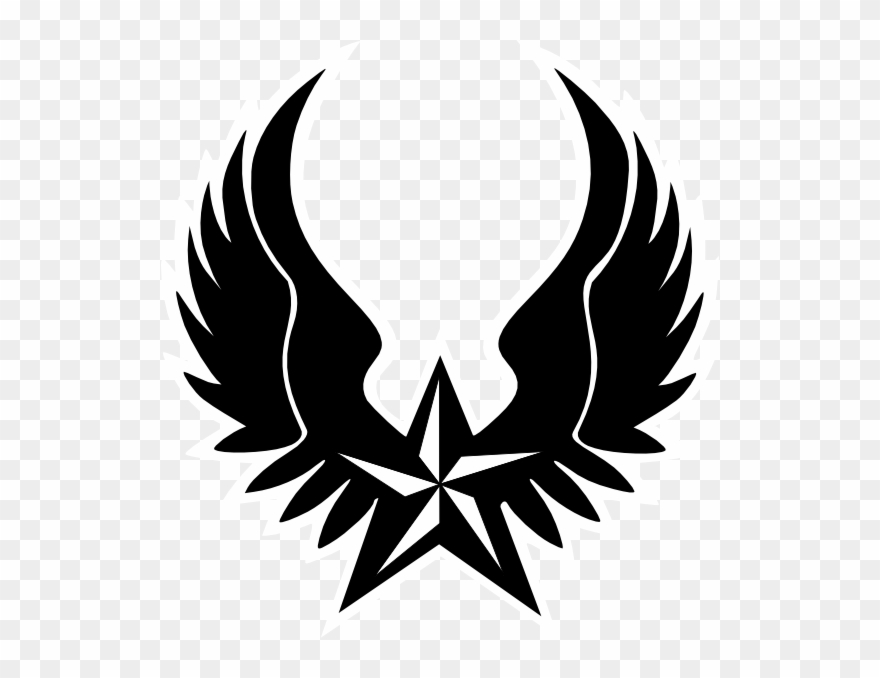 Shield with wings clipart black and white download Shield Clipart Winged - Black And Red Star Png Transparent ... black and white download