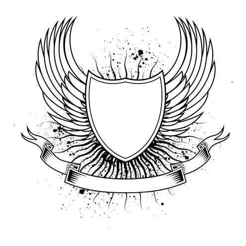 Shield with wings clipart image freeuse Drawn Shield wing template png - Free Clipart on Gotravelaz.com image freeuse