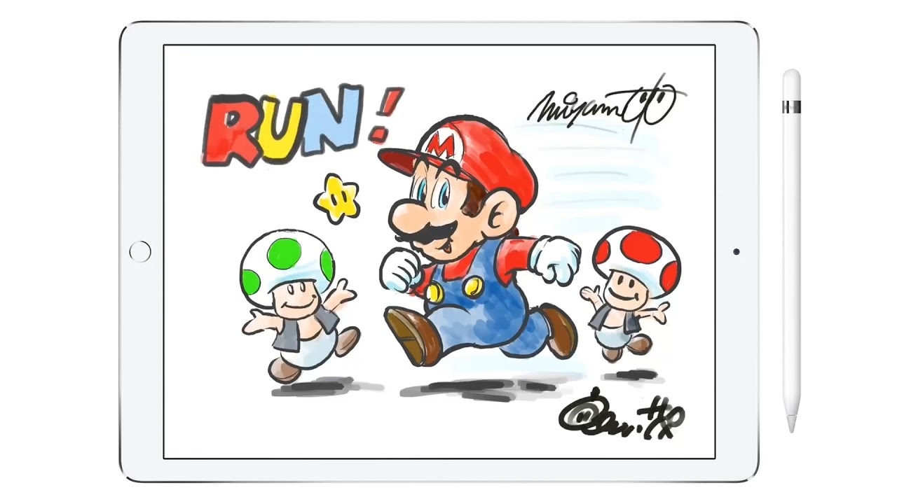 Shigeru miyamoto clipart vector royalty free Watch Shigeru Miyamoto draw Mario on an iPad Pro vector royalty free