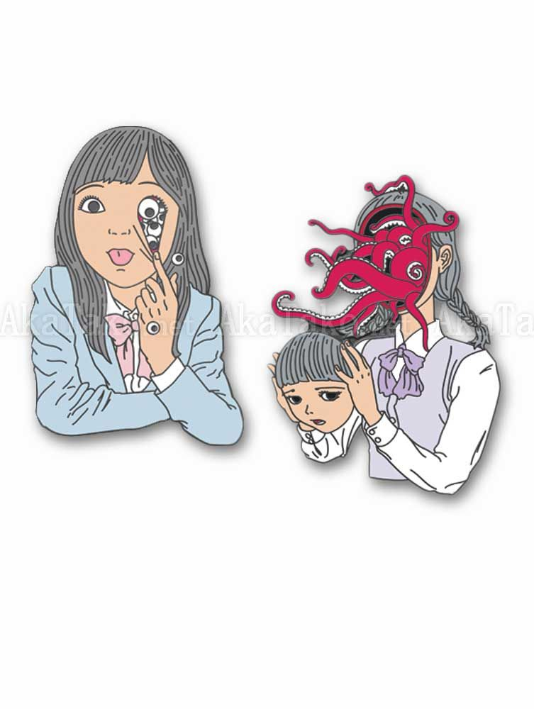 Shintaro kago clipart vector black and white download Shintaro Kago Enamel Pin Eyes or Octopus   battle jacket ... vector black and white download
