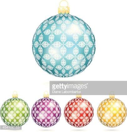 Shiny christmas ornament clipart freeuse download Shiny Christmas Ornaments With Damask Pattern premium ... freeuse download