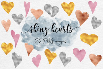 Shiny item clipart clip art library stock Shiny Hearts Clipart, Love Clipart, Sparkle Hearts In Gold, Silver, Copper,  Rose clip art library stock