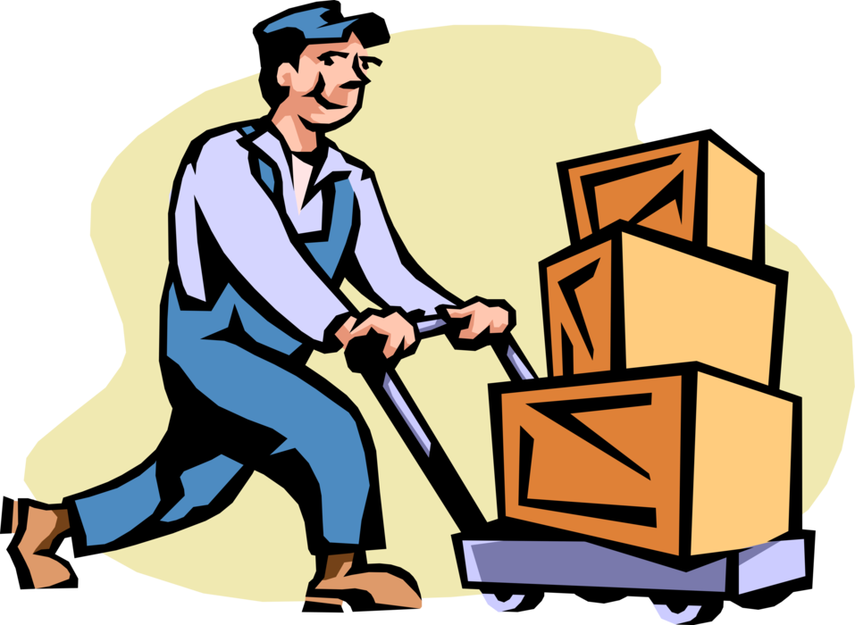 Shipping receiving avatar clipart svg black and white library Shipping and Receiving Clerk with Handcart - Vector Image svg black and white library