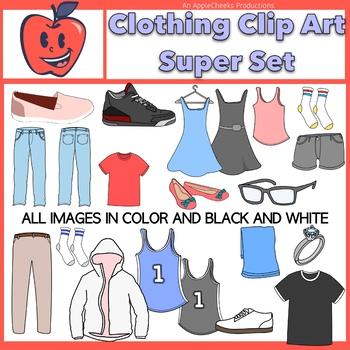 Shirt pants and socks clipart clip transparent stock Clothing Clip Art Dresses, Shoes, Tee-Shirts, Socks, Pants. Jerseys, Set 1 clip transparent stock