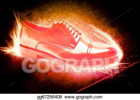Shoe on fire clipart png black and white download Drawing - Shoes on fire. Clipart Drawing gg67256408 - GoGraph png black and white download