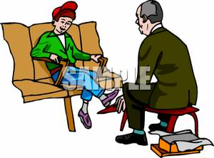 Shoe sales person clipart clip black and white stock A Shoe Salesman Fitting a Boy | Clipart Panda - Free Clipart ... clip black and white stock